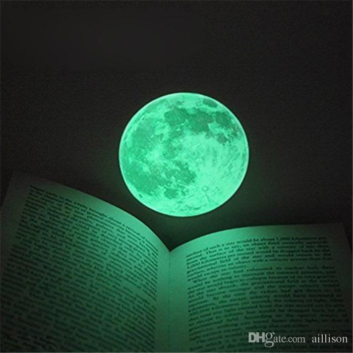 Hot 30cm Large Moon Glow In The Dark Luminous DIY Wall Sticker Living Home Decor Romantic Moon Fluorescent Paste