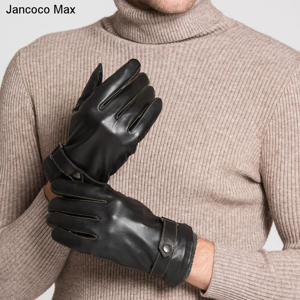New Winter gloves for mens High Quality Genuine Sheepskin Leather Gloves Men All Handmade Black Brown Mittens