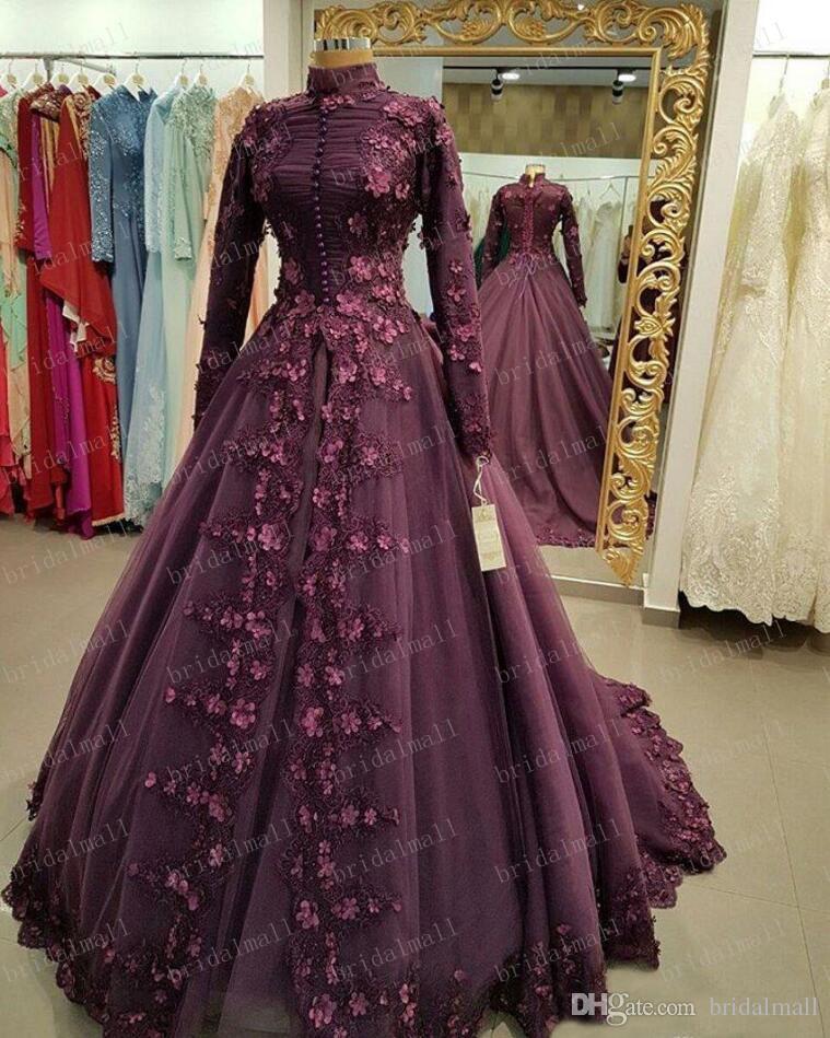 Lila SpitzeAppliques lange Hülsen-Abend-Kleider 2019 muslimischen Abendkleid hohe Ansatz formale Partei-Kleider Saudi-Arabien Brautkleid Plus Size