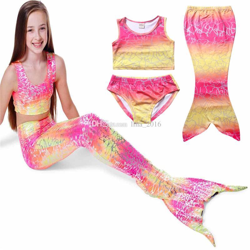 الأطفال حورية البحر ملابس السباحة المايوه 4 ألوان الفتيات الصيف حورية البحر ثلاث قطع ملابس السباحة بيكيني ملابس شحن مجاني B0136