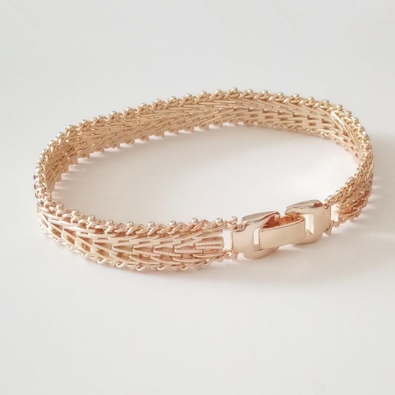 Men Jewelry Luxury Elegant Male 585 Rose Gold Color Jewelry Hand Catenary Link Metal Bracelet Bangle Charm Wide Men Bracelets Y1891709