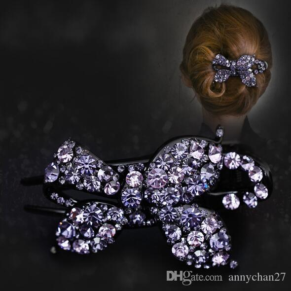 Large Hair Clips Luxury Grace Hair Clamps Full Swarovski Czech Diamond big Hair Claw Wholesales Jewelry Mother Day Valentine Gift DHL