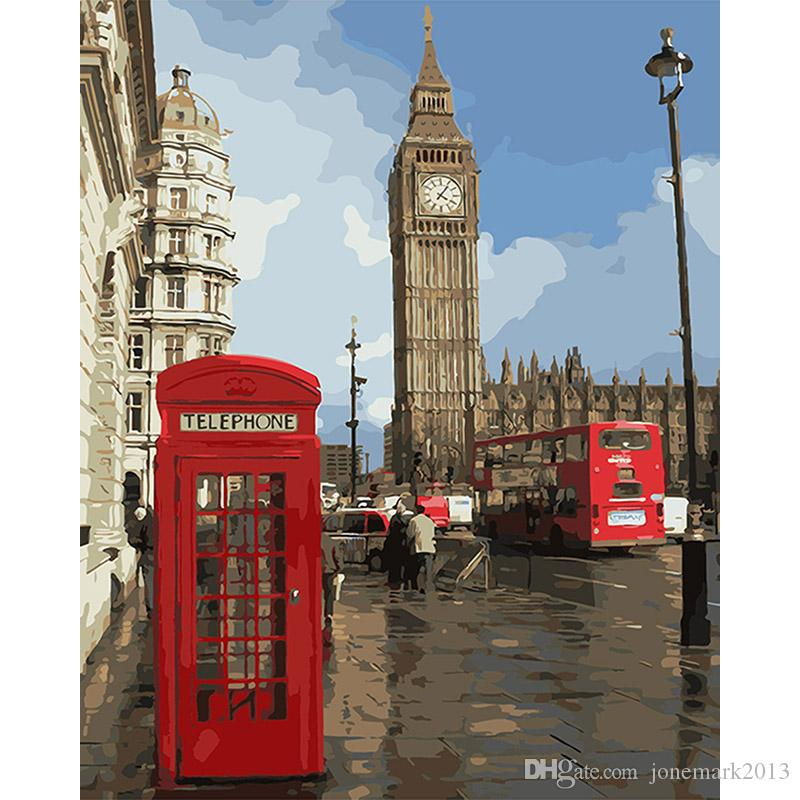 diy paintings by numbers Impression of London Wall art coloring picture by numbers on canvas for the hall