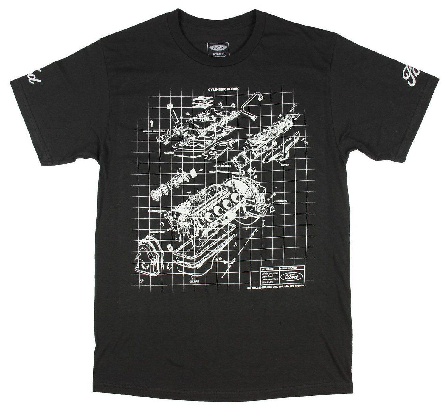 Ford Men's Engine Block Schematic Black T-Shirt New T Shirts Casual Brand Clothing Cotton