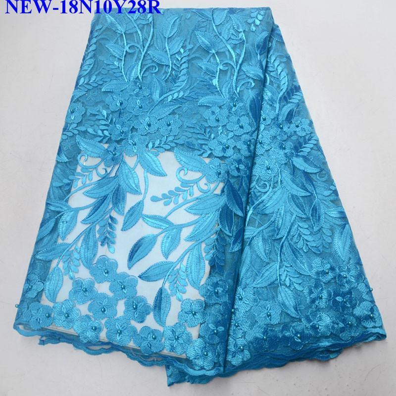 Il più recente cielo blu africano rete francese pizzo pizzo africano merletto tessuto ricamo tulle africano tessuto francese con perline NJS01