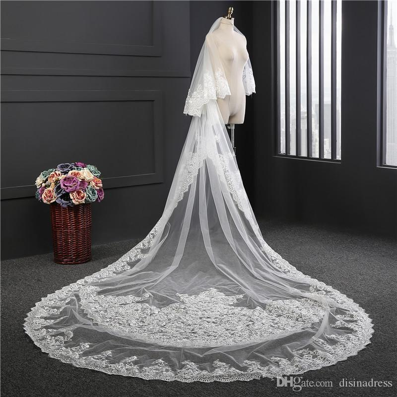 Two Tiers Long Cathedral Wedding Veils With Lace Applique Trim Soft Tulle Real Image Bridal Veil