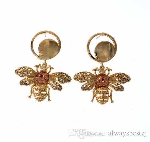 Eur Fashion Crystal Insect Bee Drop Dangle Earrings Shining Cubic Rhinestone Eardrop Gold Tone Ear Studs For Women Party Jewelry Accessories
