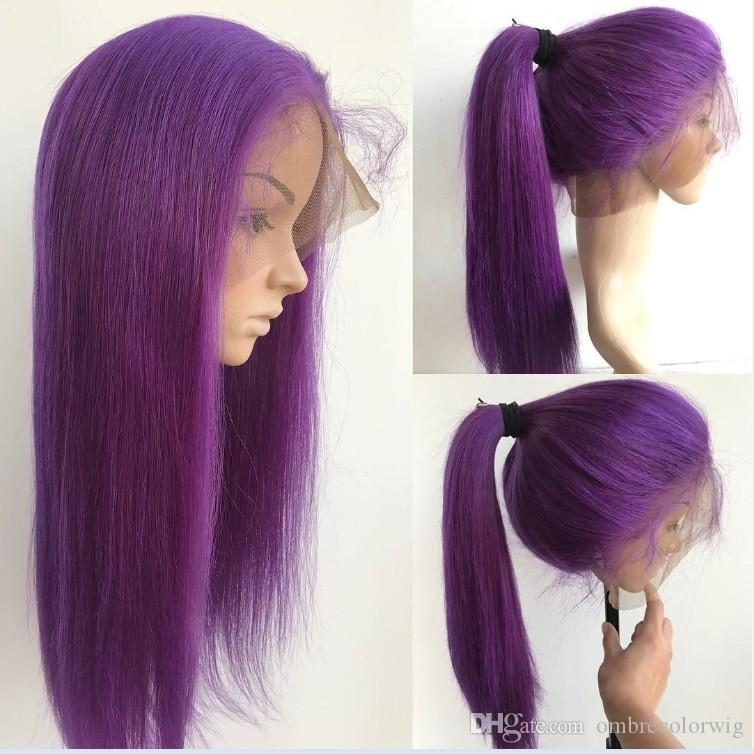 Long Colored Purple Wigs 10--24 inch Lace Frontal Wigs Brazilian Straight Human Remy Hair Wigs Density 130% Pre Plucked 100% Human Hair