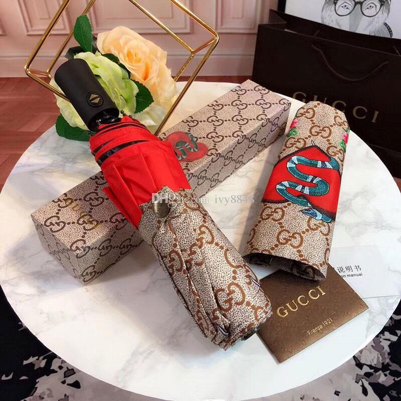 2019 NEW Fashion Classic Pattern Animal Logo Umbrella For Women 3 Fold  Classic Umbrella With Gift Box And Bag Rain Umbrella VIP Gift From Ivy8848,