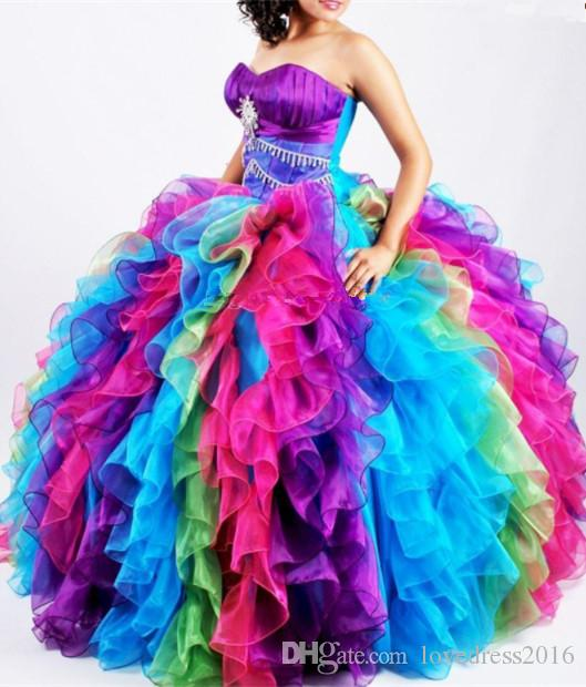 Special Colorful Organza Ball Gown Quinceanera Dresses 2018 Sweetheart Beaded Long Ruffles Sweet 16 Masquerade Party Gowns