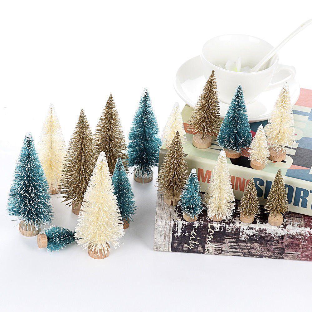 24pcs Mini Christmas Tree Fake Pine Tree Sisal Bottle Brush Snow Frost Small Cedar Artificial Christmas Home Decor