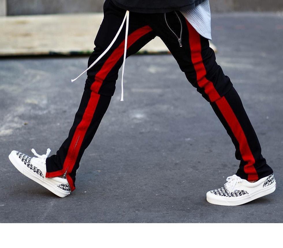 Venta al por mayor pantalones para hombre del basculador Deportes Niebla Kanye West Side Biber Colegio raya pantalón elástico Hip Hop sueltan los pantalones de los hombres Cas