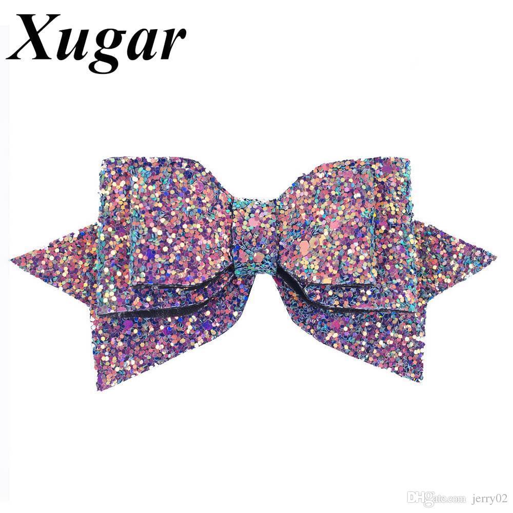 5 '' Boutique Bowknot Princesa Hairgrips Glitter Bling Arcos de Cabelo com Clipe Dance Party Girls Hairpins Acessórios Para o Cabelo
