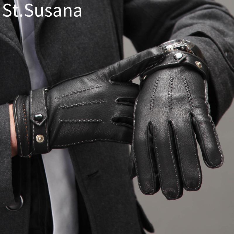 St.Susana 2018 Men Genuine Sheepskin Leather Gloves Fashion Male Autumn Winter Warm Gloves Touch Screen Mittens Driving Gloves C18111501
