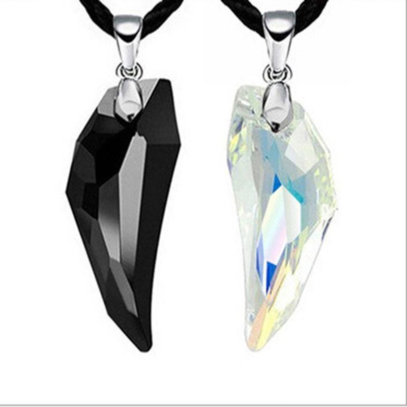 Австрийский хрустальный жемчуг для ожерелья для мужчин Женские черные белые желтые подвески Vintage Long Chain Pendant Necklaces Hot Jewelry
