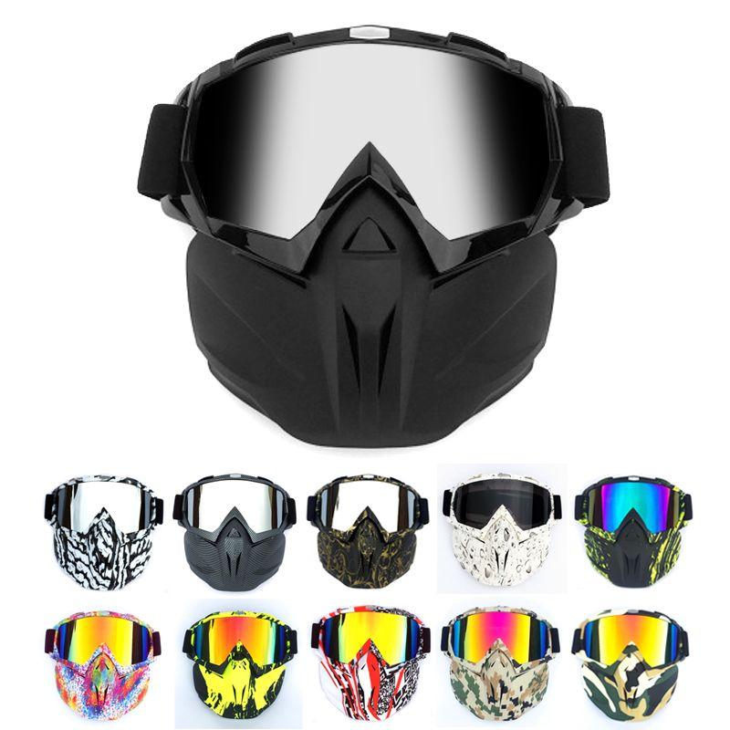 Masque modulaire Lunettes souples Lunettes Anti-poussière Sable Vent pour Open Face Moto Demi Casque ou Casques Vintage Effacer Gris