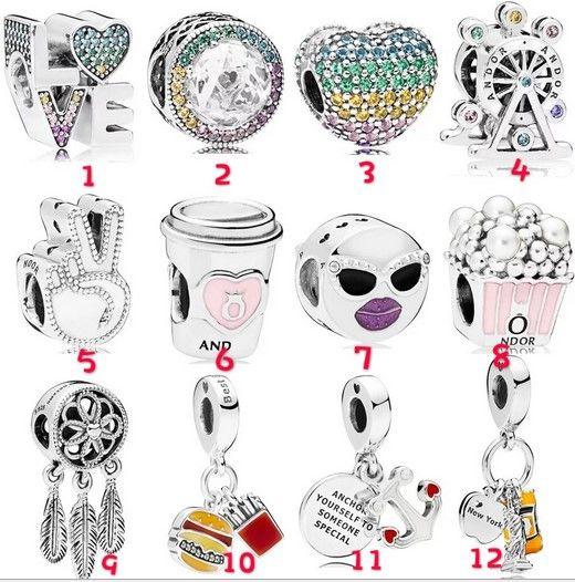 Moda 20 Adet Çapa Özgürlük Anısına Heykeli Tekerlek Aşk fincan Charm Gümüş Avrupa Charms Boncuk Fit Pandora Bilezikler DIY Takı