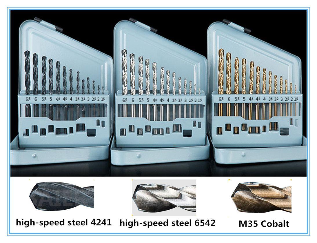 13pcs haute vitesse Co acier foret hélicoïdal 4241 6542 outils de coupe pour acier inoxydable métal alésoir foret de fer