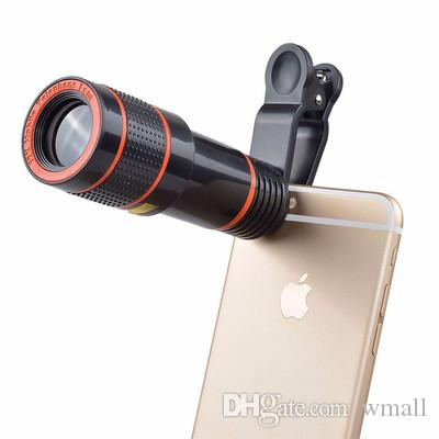 1pcs Clip-on 12x Optical Zoom HD Telescope Camera Lens For Universal Mobile Phone free shipping