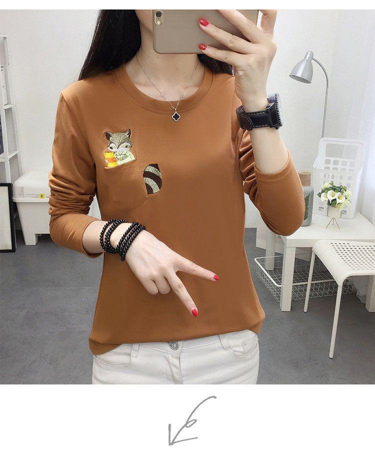 Embroidery T-shirts Women Tshirt O-neck Long Sleeve T-shirts Women Autumn Tops Tee Shirt Femme 2019 Cotton Camisetas Large Size (4)