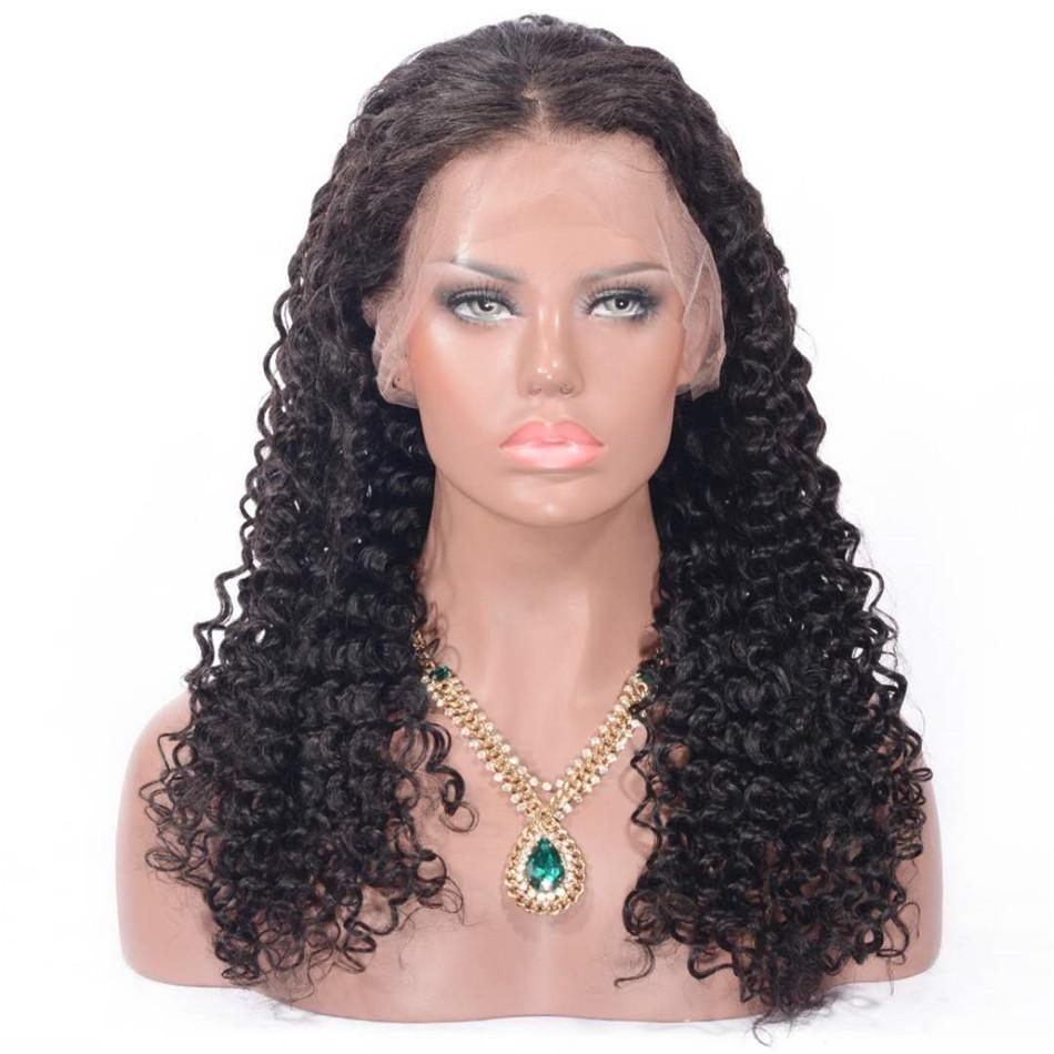 Indian Human Hair Full Lace Wigs with Baby Hair Deep Wave Lace Front Wigs for Black Women Medium Cap