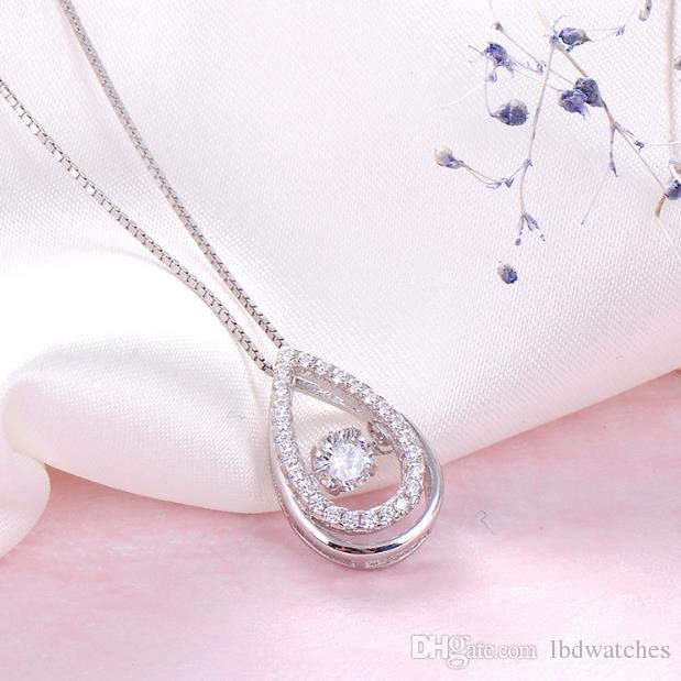 Intelligente collana in argento 925 ciondolo in argento forma goccia nuovi gioielli clavicola formato della collana 15.33 * 10.1 peso 1.31 grammi