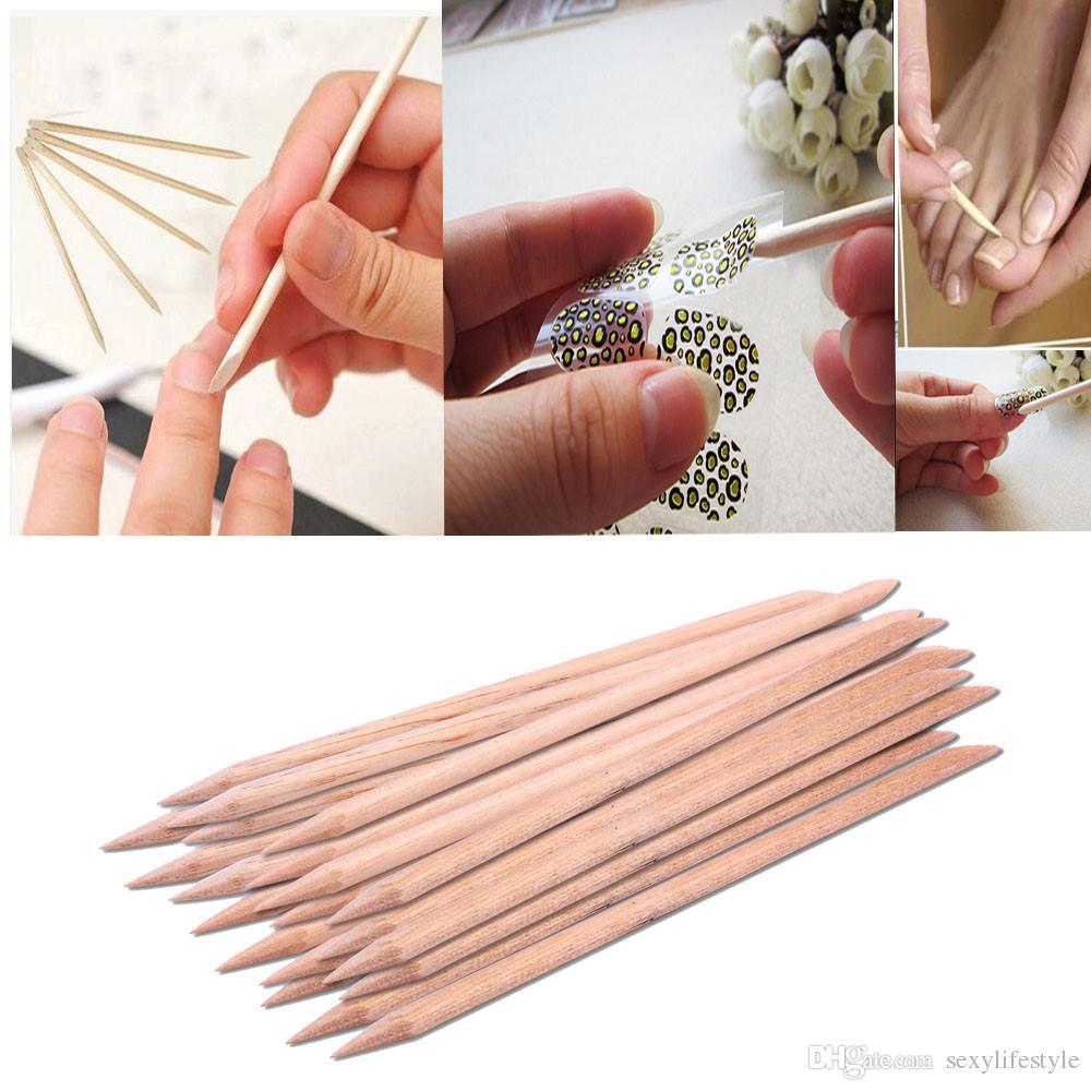Новые 20шт/комплект оранжевый женщин Леди двойной конец ногтей дерева палкой кутикулы толкатель для удаления педикюр маникюрный инструмент