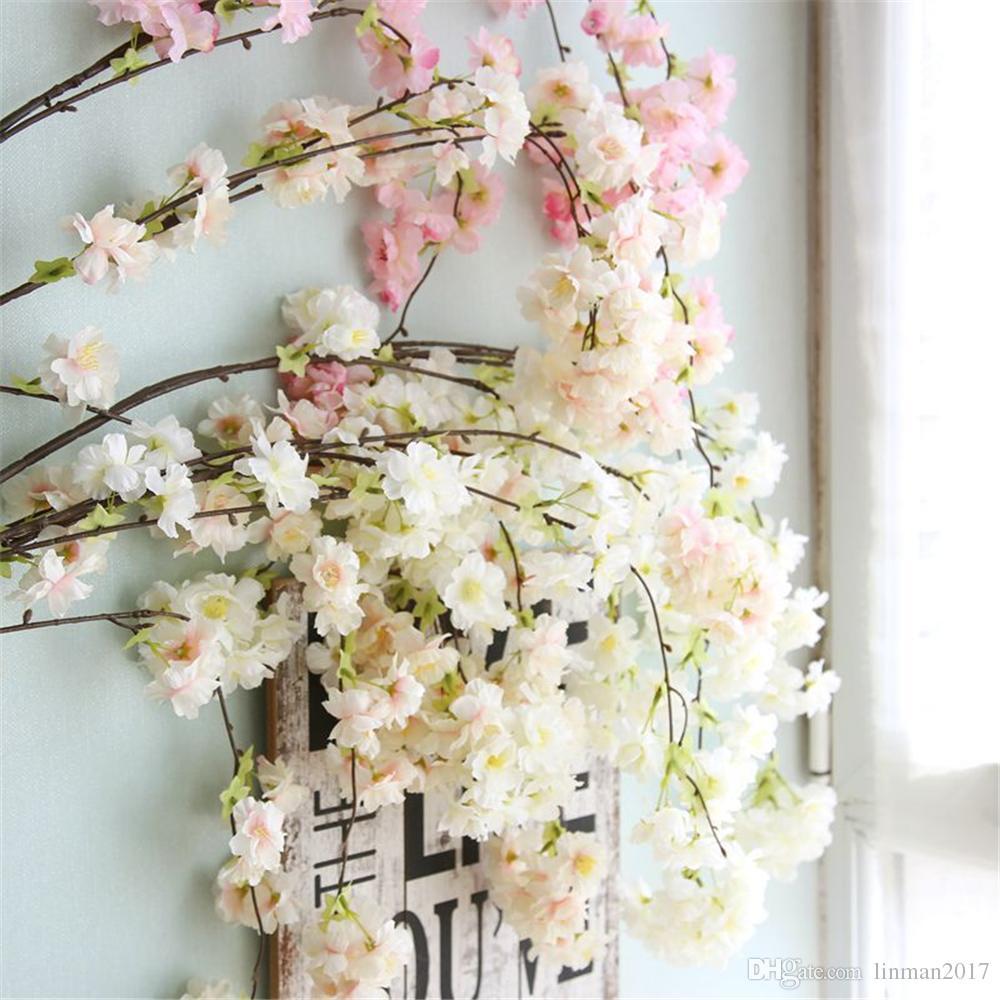 لين رجل فرع واحد 4 الشوك الاصطناعي زهر الكرز فرع الحرير زهرة النبات لحفل زفاف الديكورات الأبيض الوردي الشمبانيا