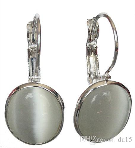 """новый белый опал 925 твердых стерлингового серебра Leverback серьги 1 1/10"""" ювелирные изделия старинные серьги реального природного камня"""
