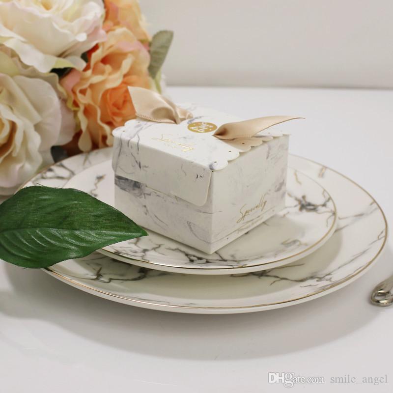 Nueva caja de dulces de la boda veteada caliente cajas de favores creativos con cinta regalos de papel cajas de ducha del bebé decoración del partido