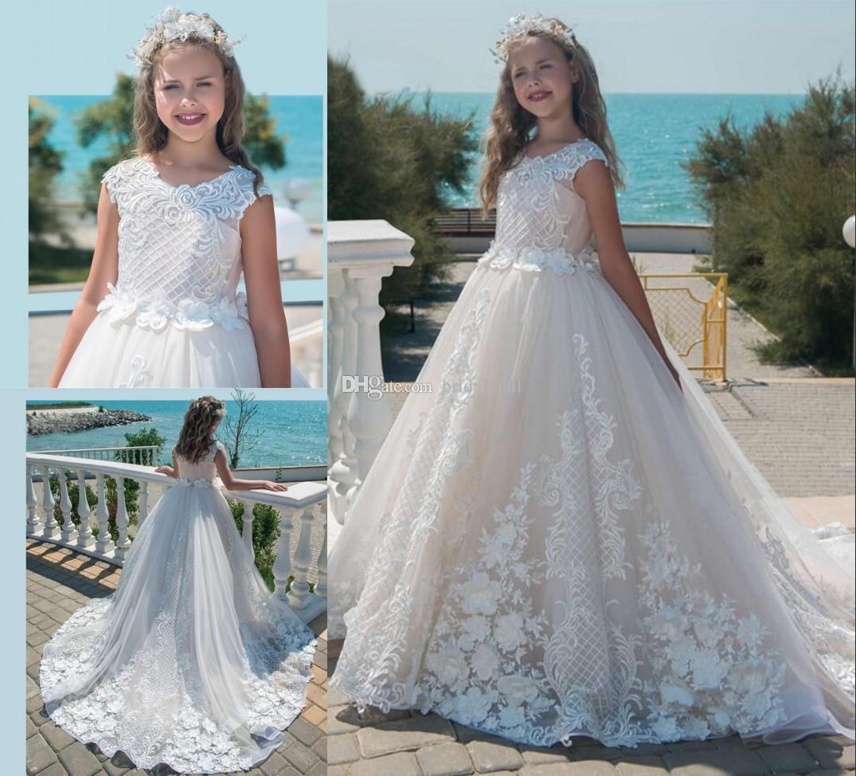 Tanie 2019 Ivory Lace Aplikacja Kwiat Girl Sukienki na ślub 3d-Floral Firm Communion Dress 2018 Little Kids Urodziny Pageant Party Suknie