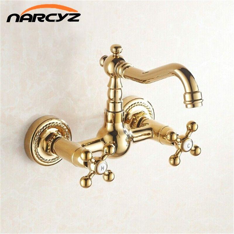 Doble cruz maneja latón de la pared de oro HotCold baño lavabo fregadero giratorio grifo mezclador grifo G1006