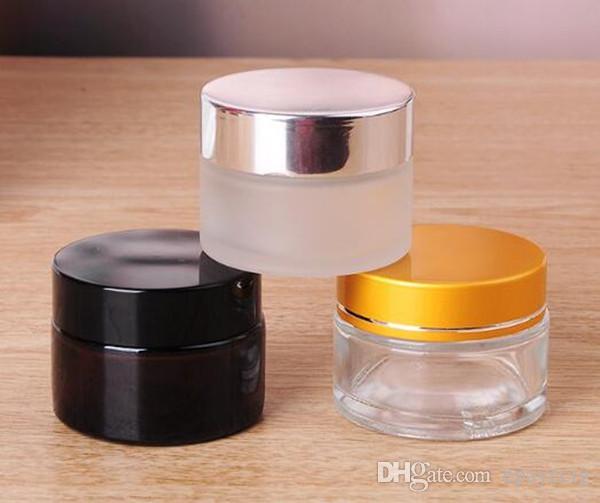 Frasco de vidrio 10g frasco pequeño contenedor cosmético transparente de color ámbar helado con tapa de tapa de plata y oro negro para ecig cera en crema