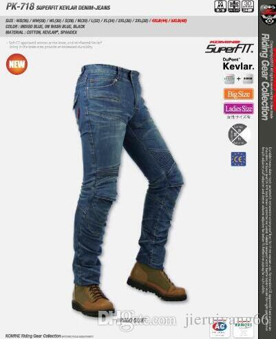 Komine PK-718 Denim Jeans PK 718 Motociclo di motocross Moto Pantaloni jeans Con rilievo della protezione trasporto libero