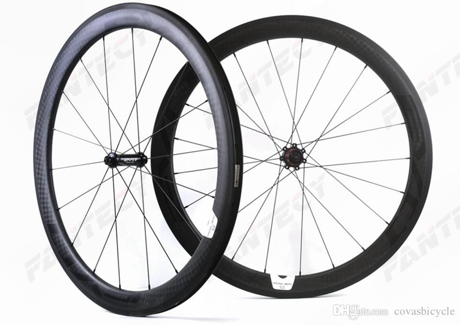 700C الطريق الكربون عجلات الدراجة 50MM عمق عرض 25MM الفاصلة / أنبوبي الطريق دراجة العجلات الكربون 12K ماتي U-شكل حافة مع الشارات EVO