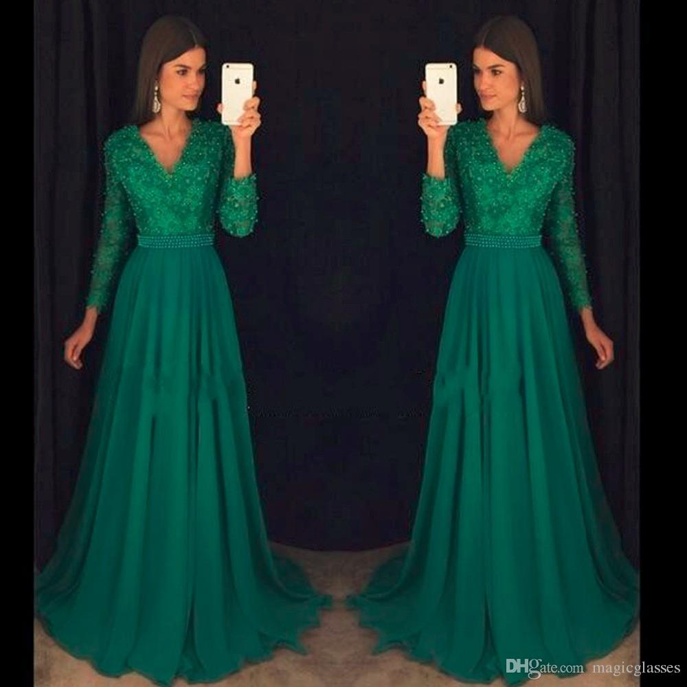 Emerald Elegant Abendkleider Long Sleeve Prom Dress Party Longo Vintage  Chiffon Beaded Modest Evening Formal Gowns Wear Custom Prom Dresses  Expensive
