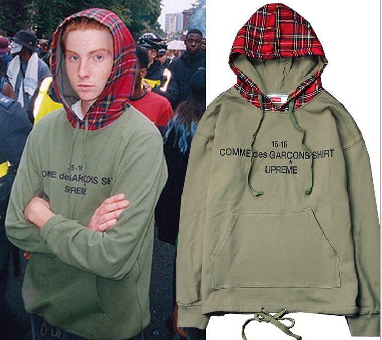 New High Street Bieber Hip Hop Hoodies Mens Scottish plaid hooded colorblock cotton terry sweater coat