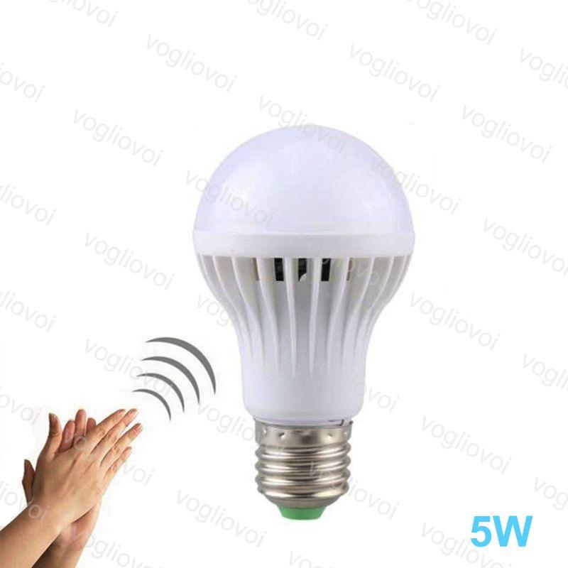 قاد المصابيح السيارات الاستشعار الصوت AC175-245V 5W 60 * 104 ملليمتر PP PP E27 6500K SMD2835 عالية السطوع لغرفة النوم غرفة دراسة غرفة المطبخ EUB