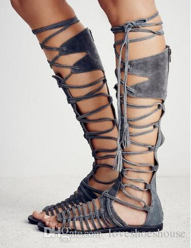 Big Size Suede Lace Up Knee High Women Gladiator Sandals Rome Retro Style Cross Tied Flat Cage Bootie Sandals Shoes