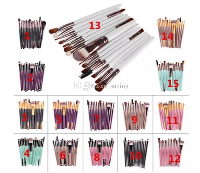 Hot sell 15Pcs Professional Make up Brushes Set Foundation Blusher Powder Eyeshadow Blending Eyebrow Makeup Brushes free shipping