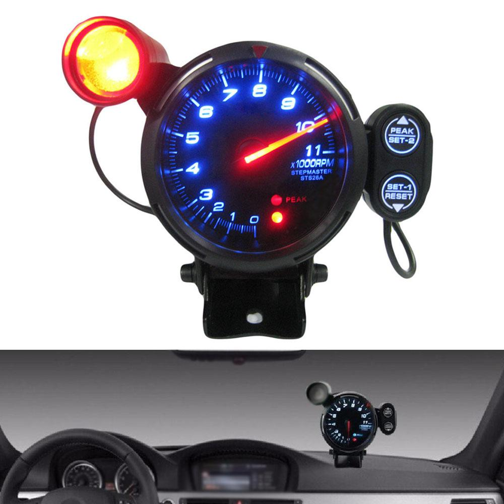 3.15 pulgadas tacómetro Kit de velocidad LED azul 11000 RPM Shift ajustable Light + Medidor Stepping Motor + 80 mm Advertencia Gauge coches Tacho