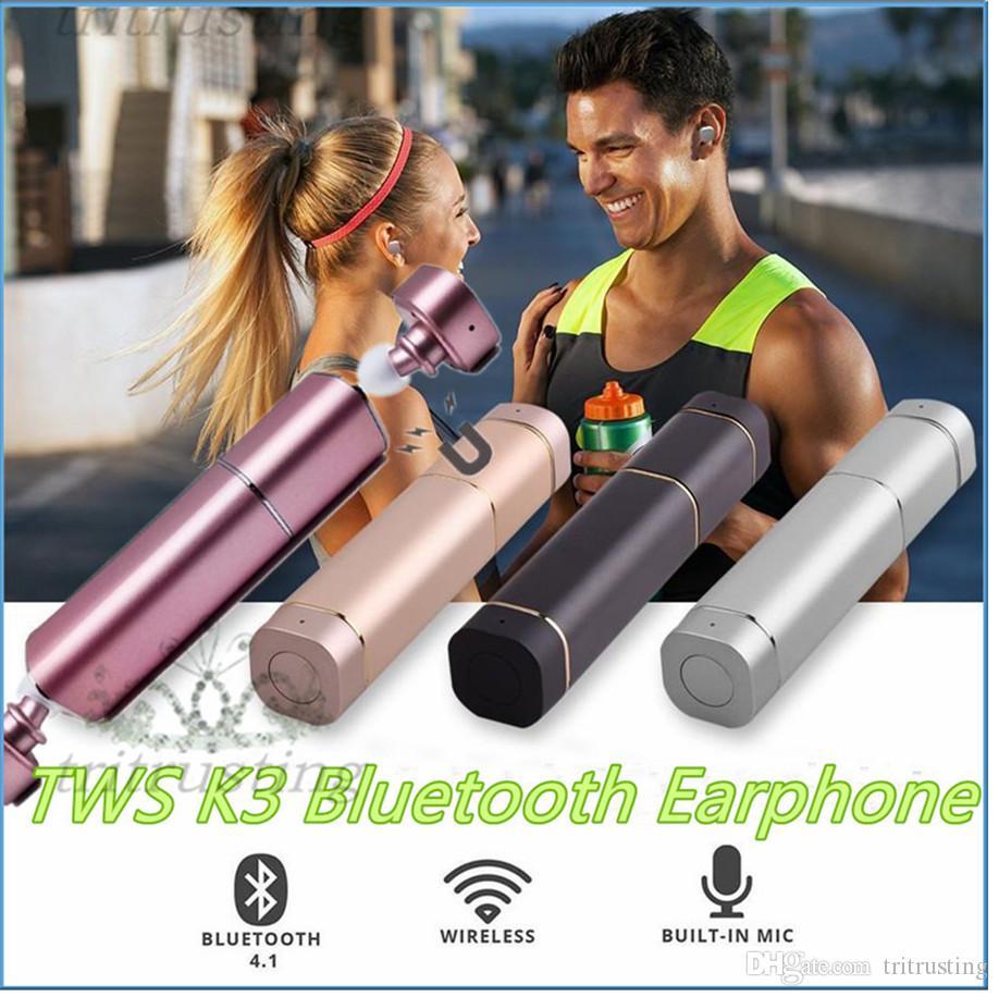 TWS K3 Twins Bluetooth Earphone Portable Mini Wireless Ear Bud Stereo Power Bank Bluetooth EarBuds earphones Earbud MQ100