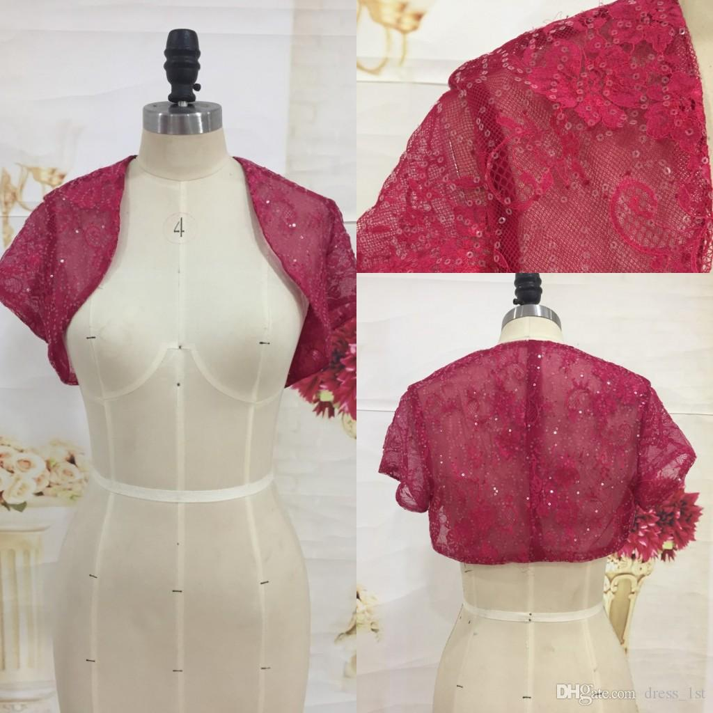Pretty Shiny Sequined Burgundy Lace Bolero Jackets with Short Sleeves 2018 Wedding Accessories Matching with Evening Dresses