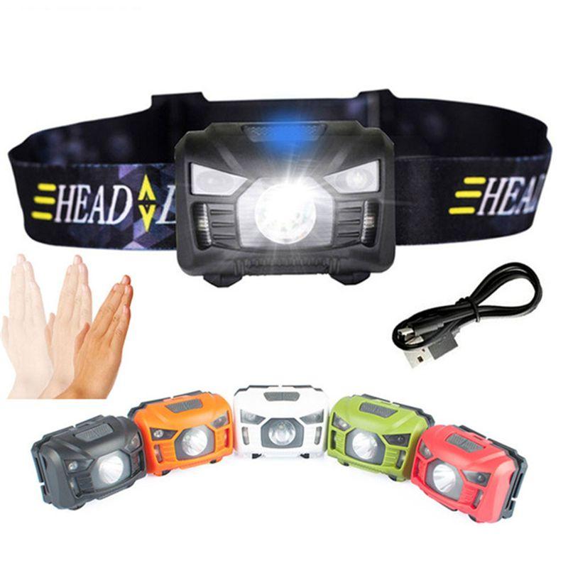 IPX4 3500LM LED Motion Sensor USB Rechargeable Headlight Headlamp Flashlight UK