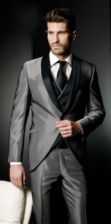 Nowe męskie garnitur przystojny srebrny szary tailcoat Haut Groom Tuxedos Groomsman Męskie garnitury Prom Odzież (Kurtka + spodnie + krawat + kamizelka)