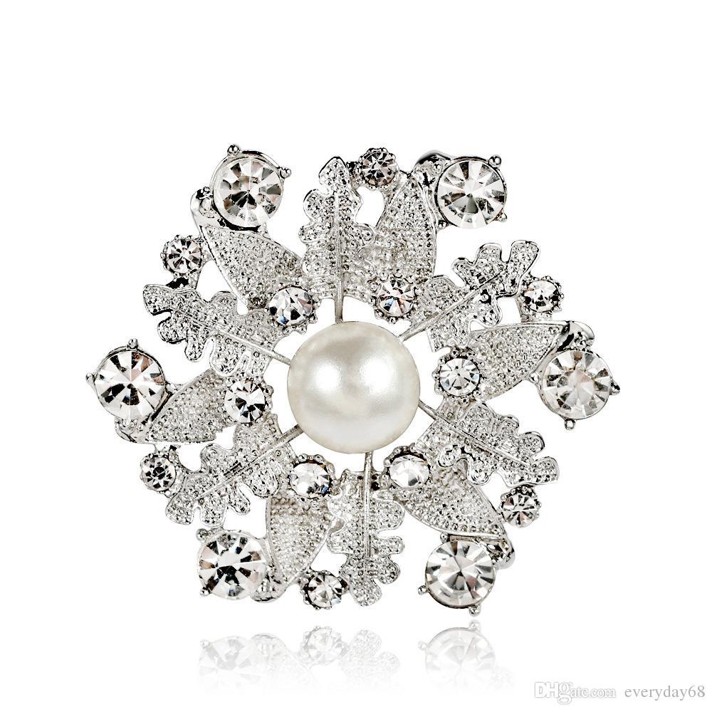 Mulheres Boutique Broches, Pérola Branca Folha de Pinos de Cristal Lady Partido Jóias Broche 12 PCS Frete Grátis