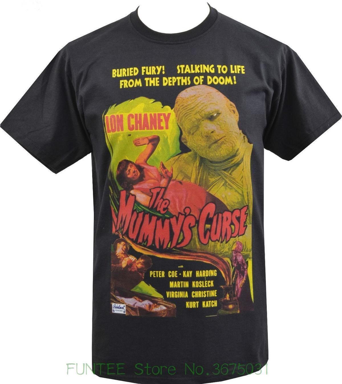 Compre Novo Metal De Manga Curta Casual Camisa Dos Homens T Shirt Preta  Mummys Curse Lon Chaney B Cartaz Do Filme Culto Horror S 5 Xl De Liguo0034 0dc49f2d3215e