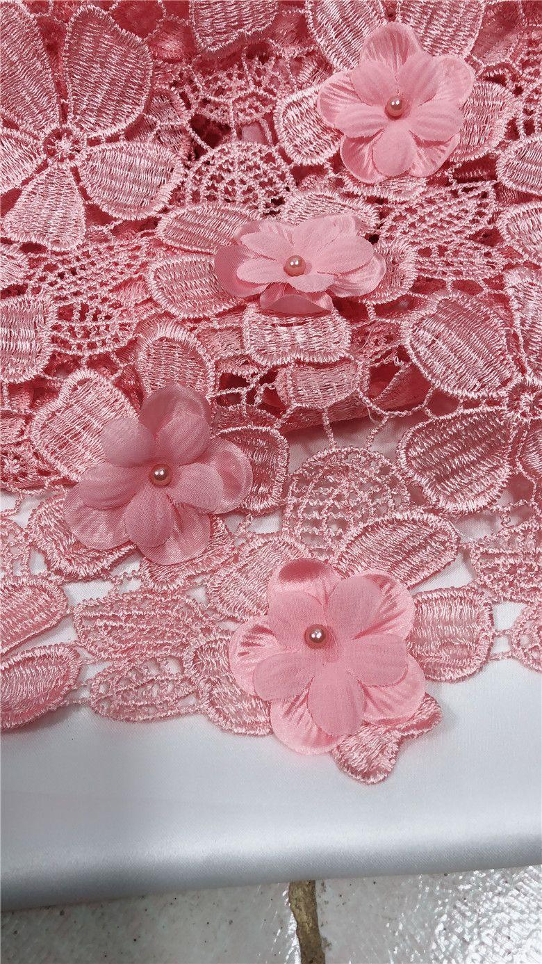 3d цветок бисером Африканский кружевной ткани 2018 Розовый гипюр кружевной ткани высокого качества нигерийский шнур кружева для женщин JRB-7207