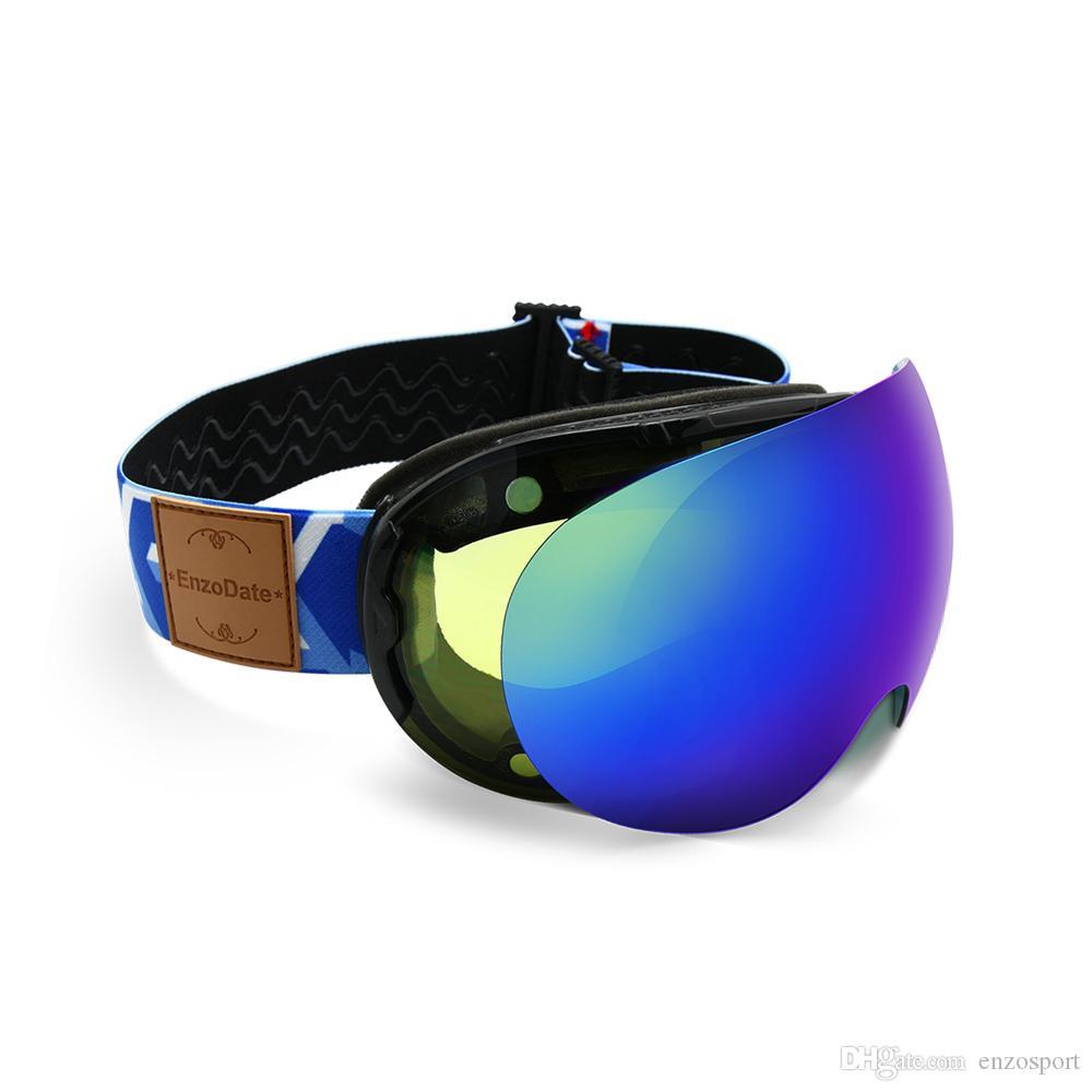 Gafas de esquí 2 en 1 con lente de doble uso magnético noche de esquí anti-niebla UV400 Snowboard Gafas de sol Skiing Snowboarding Deportes de invierno Hombres Mujeres