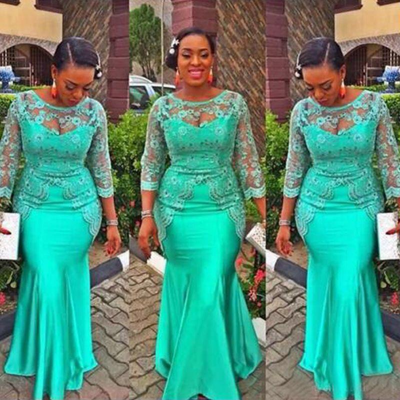 Vestido de noche de sirena africana turquesa Vestidos de fiesta de manga larga de encaje vintage Nigeria Vestidos de fiesta de noche de estilo Aso Ebi